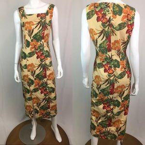 Vintage Carole Little Linen Floral Midi Dress